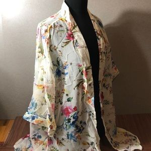 Sweaters - Last 2! Semi Sheer Cream Floral Open Cardigan